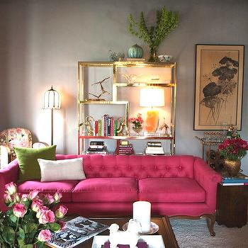 Emily Henderson - living rooms - pink sofa, hot pink sofa, pink tufted sofa, hot pink tufted sofa, vintage pink sofa, brass etagere, antique brass etagere,
