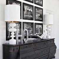 entrances/foyers - distressed, credenza, glossy, white, lamps, white, black, photo walls, photo wall collage, photo wall ideas, photo wall gallery,