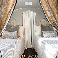 Airstream - bedrooms - gray, walls, Moroccan, twin, headboards, gray, pillows, white, gray, drapes, navy blue, diamonds, rug,  Chic trailer design