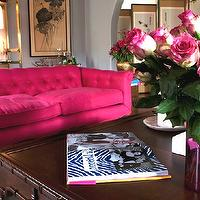 Emily Henderson - living rooms - hot pink, vintage, French, tufted, sofa, faux bamboo, coffee table, gold, etagere, gray, walls, bar cart,  Eclectic