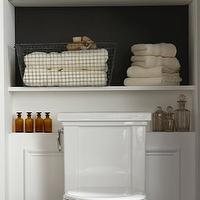 bathrooms - built-ins, shelves, black, wire, baskets, wire, wood, wastebasket, wood, floors, vintage, bottles, wall paneling,  via Pinterest