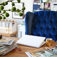 Emily Henderson - dens/libraries/offices - blue, tufted, wingback, chair, wood, desk, blue, bulletin board, blue chair, blue velvet chair, blue wingback chair, blue tufted chair, blue velvet wingback chair, tufted wingback chair, blue tufted wingback chair, blue velvet tufted chair,
