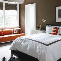 Muse Interiors - boy's rooms - chocolate, brown, walls, orange, bench, nailhead trim, mahogany, bamboo, roman shades, drum, pendant, chandelier, white, nightstand, brass, pharmacy, lamp, black, wingback, bed, white, hotel bedding, chocolate, brown, border, orange, pillows,