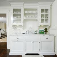 Muse Interiors - kitchens - butler's pantry, white, glass-front, kitchen cabinets, marble, countertops, polished nickel, gooseneck, bridge, faucet, corbels,