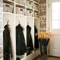 Traditional Home - laundry/mud rooms - brown, beige, herringbone, runner, clear, acrylic, lucite, umbrella stand, white cubbies, woven, baskets, toile, wallpaper, mudroom, mudroom design, mudroom cabinets, mudroom storage, mudroom bench, mudroom lockers, mudroom open lockers, mudroom locker cabinets, mudroom cubbies, mudroom hooks, beadboard mudroom cabinets, mudroom beadboard cabinets, mudroom beadboard, beadboard in mudroom, mudroom beadboard built-ins, mud room, mud room designs,