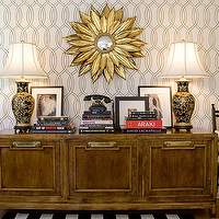Amber Interiors - entrances/foyers - vintage, lamps, vintage, credenza, white, black, striped, rug, black, chairs, yellow, cushions, geometric, wallpaper,