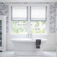 Muse Interiors - bathrooms - freestanding, tub, roman shades, blue, gray, ribbon trim, blue, gray, wallpaper, marble, tiles, floor, white, bathroom cabinet, beadboard,