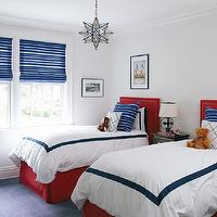 Muse Interiors - boy's rooms - red, twin, headboards, nailhead trim, red, bed skirts, blue, striped, pillows, blue, striped, roman shades, white, hotel bedding, blue, border, black, nightstand, cabinet, Worlds Away Clear Star Chandelier,