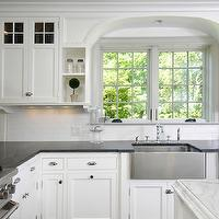 Muse Interiors - kitchens - L shaped, white, kitchen cabinets, soapstone, countertops, white, kitchen island, beveled, marble, countertops, subway tiles, backsplash, stainless steel, apron, sink,