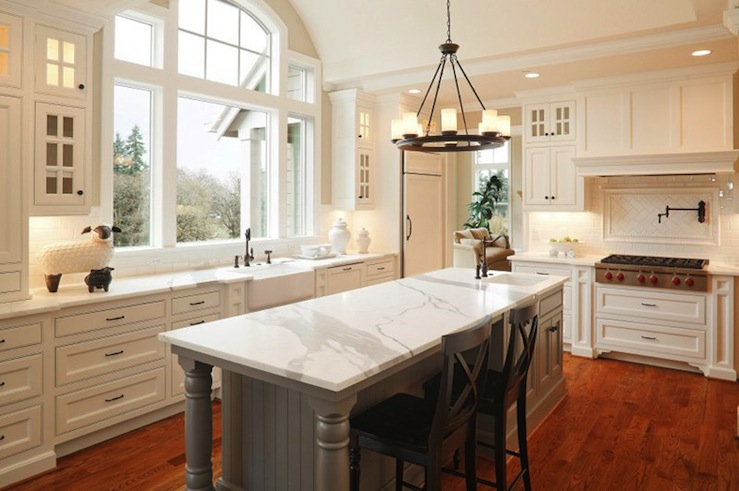Halcyon House - kitchens - Pottery Barn Aaron Black Counter Stools, Pottery Barn Veranda Round Chandelier, gray, kitchen island, marble, countertops, farmhouse, sink, oil-rubbed bronze, pot filler, faucet, herringbone, subway tiles, backsplash, farmhouse sink, white, kitchen cabinets,