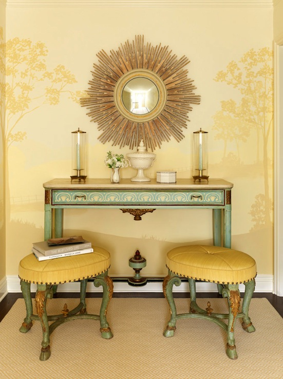 Yellow Foyer Table : Seafoam green table eclectic entrance foyer jeffers