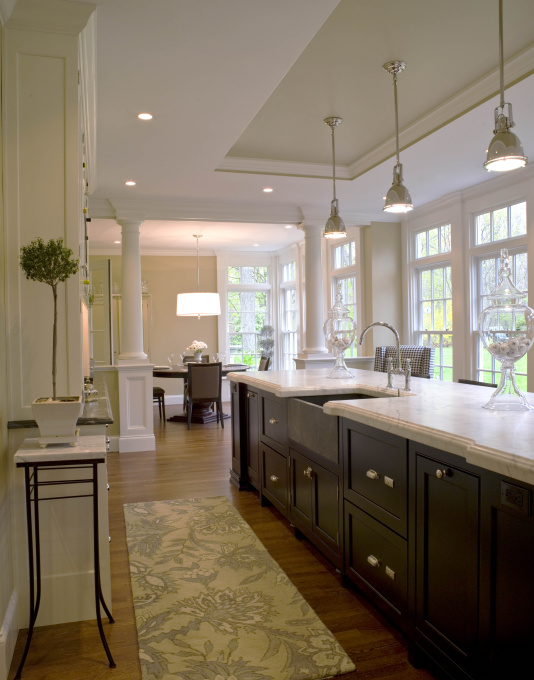 HGTV - kitchens - Benjamin Moore - Wheeling Neutral - Restoration Hardware Harmon Pendant, long kitchen island, long center island, espresso kitchen island, white marble countertops, beveled marble countertop, mini yoke pendants, tray ceiling, kitchen tray ceiling,