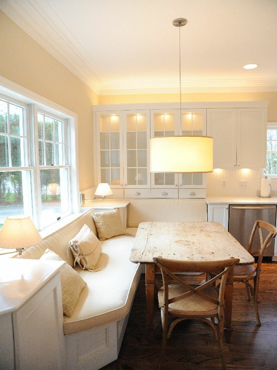 dining rooms - Restoration Hardware Madeleine Side Chair, drum, pendant, built-in, banquette, ivory, cushions, farmhouse dining table, ivory, walls, white, glass-front, kitchen cabinets, crown molding, banquette, dining banquette, built-in banquette, built in dining banquette, kitchen banquette,