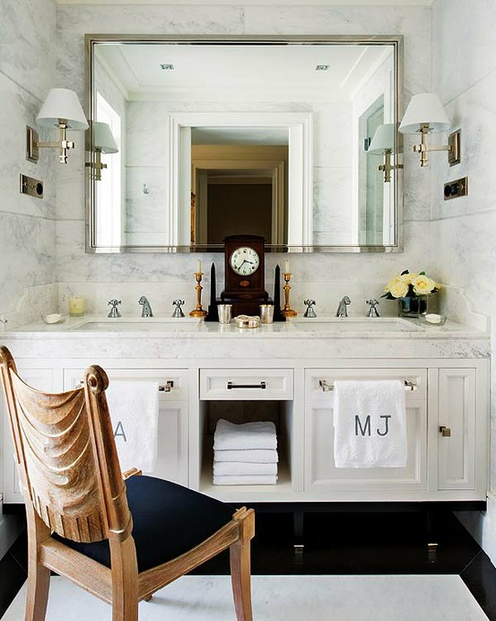 Suzie: via Pinterest  Bathroom design with white double bathroom vanity with marble counter ...