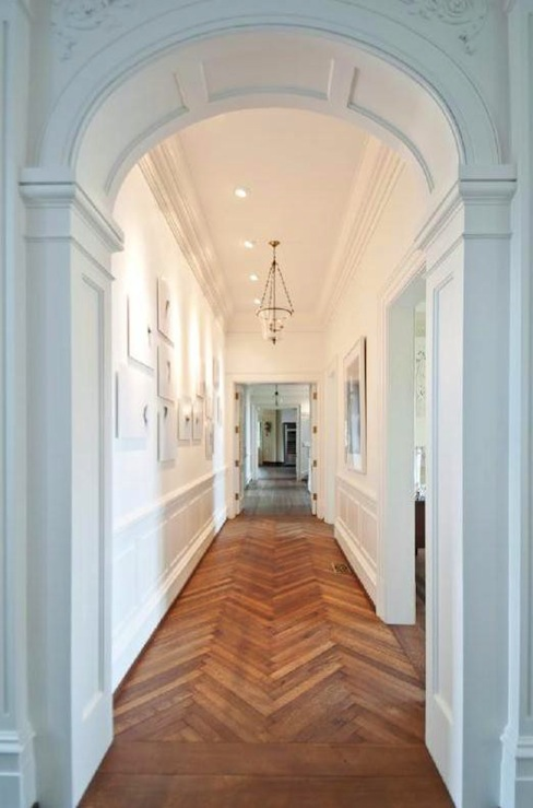entrances/foyers - chevron, herringbone, wood floors, arched, doorways, wainscoting, photo gallery,  via Pinterest  Stunning foyer with herringbone