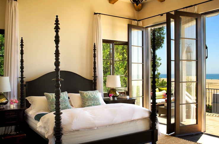 Black French Doors - Mediterranean - bedroom - Chris Barrett Design