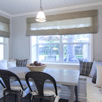 Built In Banquette, Cottage, dining room, Cote de Texas