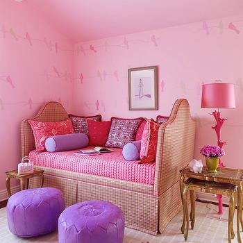 Jeffers Design Group - girl's rooms - purple pouf, purple leather pouf, purple moroccan pouf, purple moroccan leather pouf, daybed, camelback daybed, upholstered daybed, skirted daybed, daybed bedding, nesting tables, pink lamp, hot pink lamp, pink girls room,