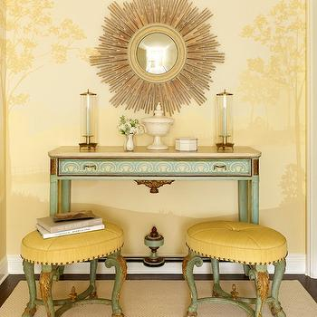 Jeffers Design Group - entrances/foyers - seafoam green table, seafoam green console table, yellow ottomans,  Love the combination of yellow