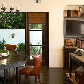 Chris Barrett Design - dining rooms - tobacco leather dining chairs, brown leather dining chairs, round dining table, espresso dining table,