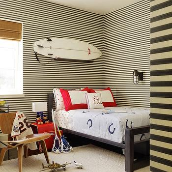 Adorable boy's bedroom with white & black horizontal striped painted walls, black ...