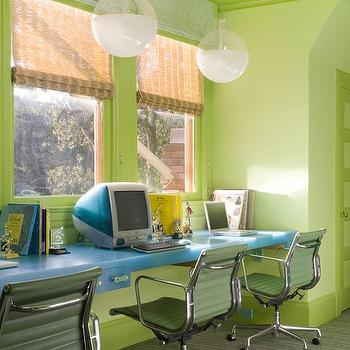 Jeffers Design Group - boy's rooms - floating desk, floating desks, boys floating desk, kids floating desk, blue desk,  Green & Blue boy's playroom
