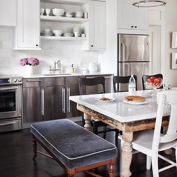 House & Home - kitchens - kitchen cabinets, velvet bench, blue bench, blue velvet bench, dining bench, dining table bench, gray velvet bench, dining bench, gray dining bench, reclaimed wood dining table, white dining chairs, stainless steel cabinets, stainless steel kitchen cabinets,