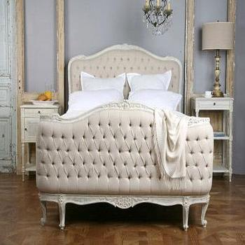 Beds/Headboards - Eloquence Sophia Upholstered Tufted Bed Old Cream - cream, tufted, bed