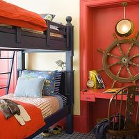 Jeffers Design Group - boy's rooms - nautical, red, yellow, walls, navy blue, bunk, beds, red, bedding, blue, striped, pillows,  Red & blue boys'