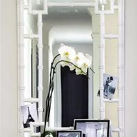 Ferreira Design - entrances/foyers - white, faux bamboo, mirror, orchid, white, table, faux bamboo mirror, bamboo mirror, pagoda mirror, white faux bamboo mirror, white bamboo mirror, white pagoda mirror, , White Lacquer Pagoda Mirror,
