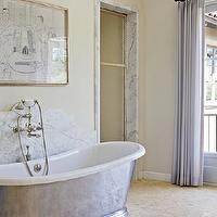 Studio William Hefner - bathrooms - marble, backsplash, tumbled, marble, tiles, floor, ivory, walls, lilac, drapes, Waterworks Candide Tub,