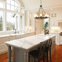 Halcyon House - kitchens - gray, kitchen island, marble, countertops, farmhouse, sink, oil-rubbed bronze, pot filler, faucet, herringbone, subway tiles, backsplash, farmhouse sink, white, kitchen cabinets, Pottery Barn Aaron Black Counter Stools, Pottery Barn Veranda Round Chandelier,