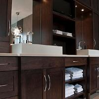Deslaurier Custom Cabinets - bathrooms - coffee stained, double bathroom vanity, overmount sinks, green, gray, walls, Horchow, chandelier, espresso cabinets, espresso bathroom cabinets, stained cabinets, stained bathroom cabinets, espresso vanity, espresso bathroom vanity, Comet Chandelier,