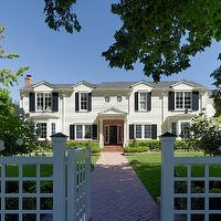 Jeffers Design Group - home exteriors - colonial, home, white, lattice, fence, gray, shingles, brick, pathway, walkway,  Colonial home exterior