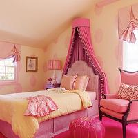 Jeffers Design Group - girl's rooms - hot pink, princess, canopy with tassels, pink tufted twin headboard with pink bed skirt, pink carpet squares, pink, linen, chair, pink, leather, Moroccan, pouf, yellow, quilt, yellow, walls, purple, nightstand, pink, shades, pink, pillows, pink room, pink girl room, pink girls room, pink girl bedroom, pink girls bedroom, little girl pink room, little girl pink bedroom, little girls pink room, little girls pink bedroom,
