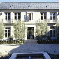 Studio William Hefner - home exteriors - modern, French, white, stucco, gray, shingles, fountain, attached garage,  Lovely modern French home