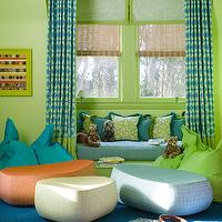 Jeffers Design Group - boy's rooms - lime green, walls, blue, green, geometric, drapes, green, roman shades, layered, bamboo, roman shades, built-in, window seat, blue, cushion, green, piping, green, blue, pillows, blue, rug, blue, green, floor cushions,
