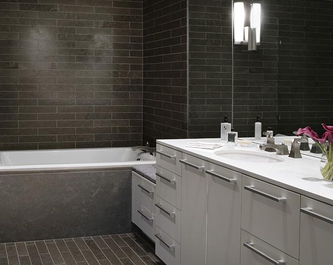 Brown subway tiles contemporary bathroom beth webb interiors - Modern subway tile bathroom design interior ...
