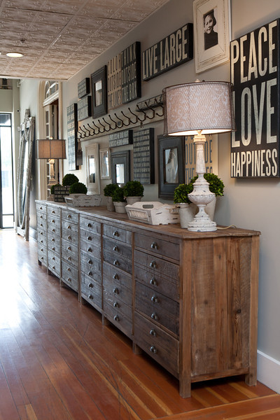 entrances/foyers - distressed, reclaimed, wood, dressers, white, vintage, lamps, subway signs, eclectic, art gallery, gray, walls, topiaries,
