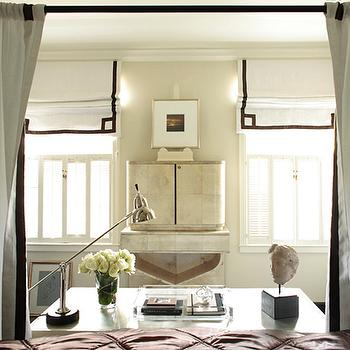 Beth Webb Interiors - bedrooms - white, roman shade, black, ribbon trim, black, canopy, bed, white, panels, desk, acrylic, tray, pharmacy, lamp, roman shades, black and white roman shades, white and black roman shades, greek key roman shades,