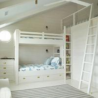 boy's rooms - white, blue, striped, rug, white, built-in, bunk, beds, sloped, ceiling, ladder, bunk bed ladders, removable bunk bed ladders, white bunk bed ladders, bunk beds, built in bunk beds, boys bunk beds, boys built in bunk beds, boys beds, white bunk beds, white built in bunk beds,