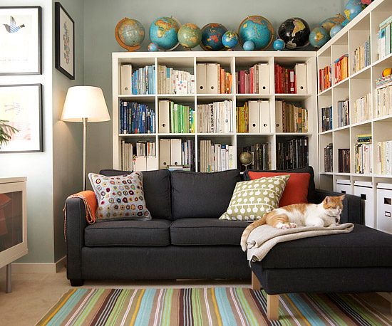 Suzie: BHG - Fantastic media room office design with blue gray walls paint color, Ikea EXPEDIT ...