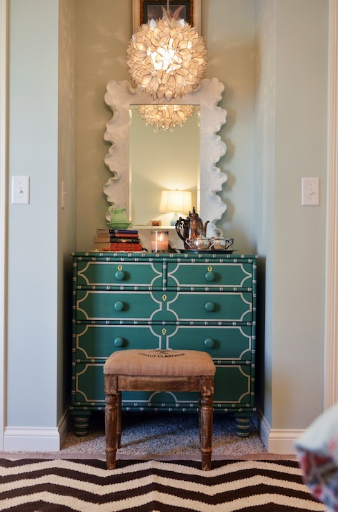 Life in Grace - girl's rooms - Sherwin Williams - Sea Salt - Somerset Bay Long Key Chest, Ballard Designs Atoll Mirror, Pottery Barn Capiz Pendant, West Elm Zigzag Rug, Target Vintage Charm Wooden Stool, green, gray, walls,