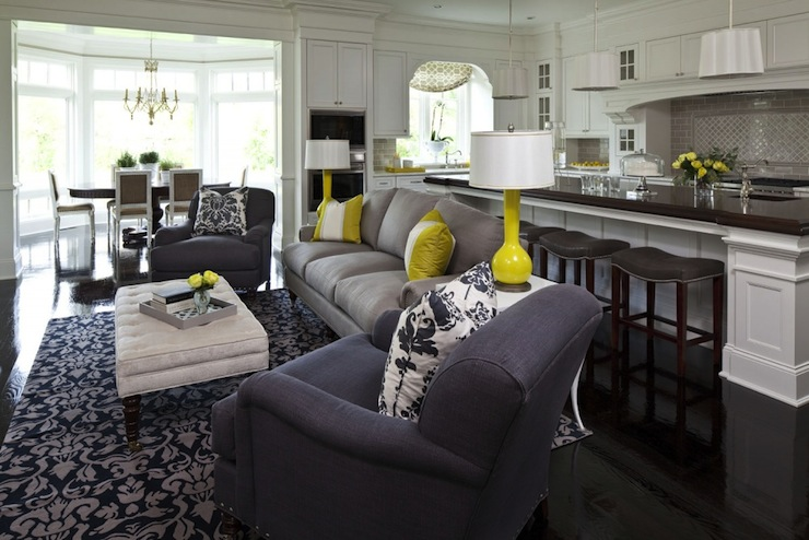 Yellow blue and grey living room living rooms