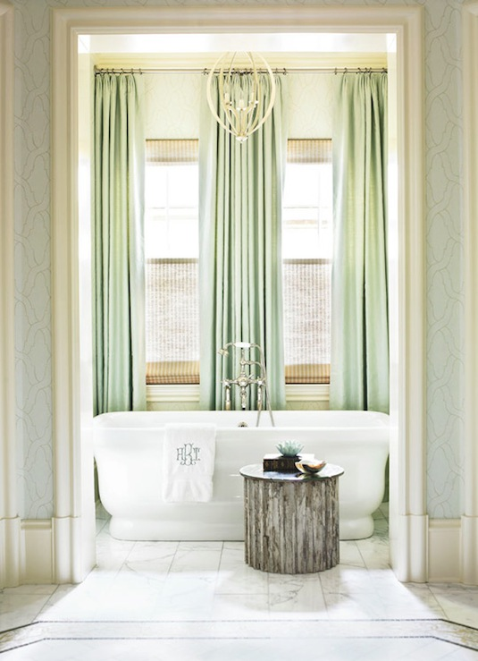 Mint Green Curtains Traditional Bathroom Traditional