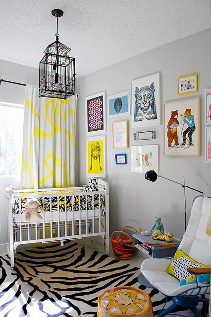 nurseries - gray, yellow, drapes, gray, walls, white, crib, white, black, zebra, rug, eclectic, art gallery, iron, lantern, chandelier, yellow and gray rooms, gray and yellow rooms, yellow and gray nursery, gray and yellow nursery,