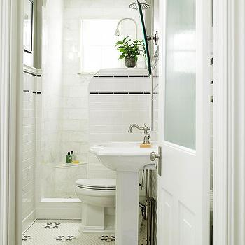 BHG - bathrooms - frosted glass door, frosted glass bathroom door, pedestal sink, vintage floor, vintage tiled floor, vintage bathroom floor,