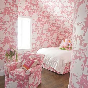 Zoe Feldman Design - girl's rooms - pink room, pink girl room, pink girls room, pink girl bedroom, pink girls bedroom, pink toile wallpaper, pink toile, pink toile chair, pink toil bed skirt, toile bed skirt, curved walls,