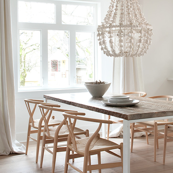 Kelly Deck Design - dining rooms - flower drop chandelier, rectangular dining table, wishbone chairs, wishbone dining chairs, wood top dining table, wood topped dining table, Hans Wegner Wishbone Chair, Oly Studio Flower Drop Chandelier,