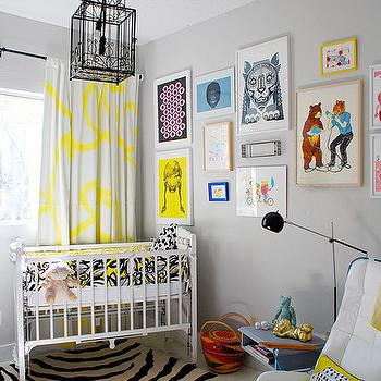 Yellow and Gray Nursery, Contemporary, nursery